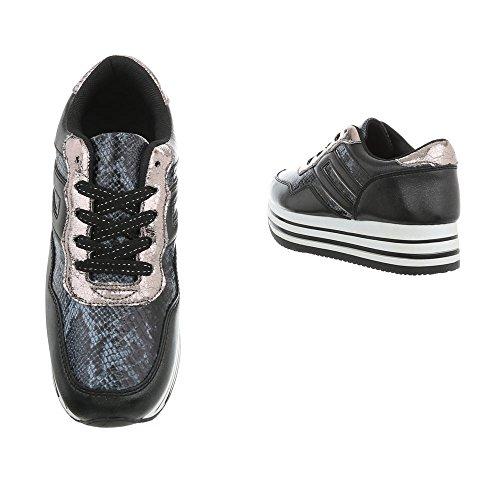 Plano Zapatillas Design 2410 Zapatos Bajas Ital para Mujer Zapatillas Negro XRnqv