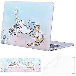 MOSISO Funda Dura Compatible con 2019 2018 2017 2016 MacBook Pro 13 A2159 A1989 A1706 A1708, Carcasa de Plástico & Cubierta de Teclado (USA Versión) & Protector de Pantalla, Lindo Gato