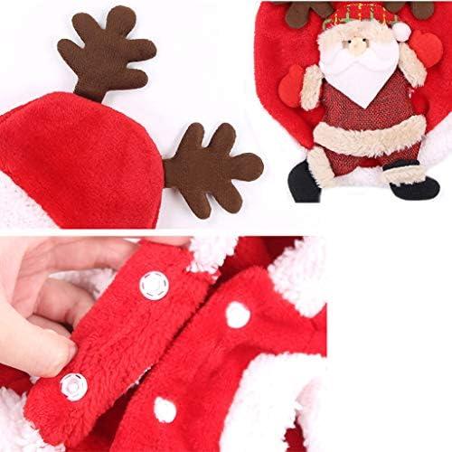 DSDecor - Disfraz de Papá Noel para perros de Navidad, ropa de invierno para perros pequeños 4