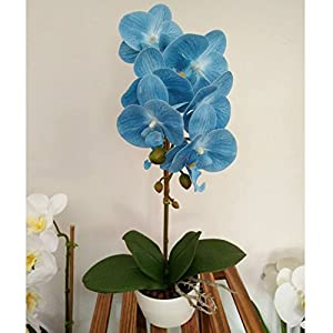 BeautiLife Blooming Orchid Artificial Flower Arrangements Blooming Flower Bonsai Rockery Series in vase for Home Wedding Party Office Dcoration 2