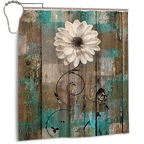 Amonee-YL Rustic Floral Butterfly White Flower Teal Brown Vintage Polyester Fabric Shower Curtain Sets with 12 Hooks,Modern Bathroom Home Decor (Teal Vintage Curtains)