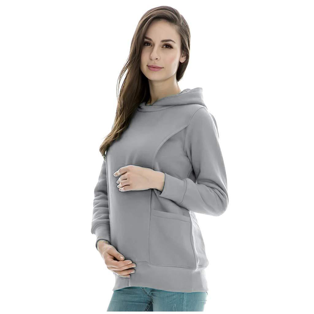 Casual per Allattamento al Seno Saihui/_Maternity Tops Felpa Invernale da Donna con Cappuccio in Caldo Pile a Maniche Lunghe Tinta Unita