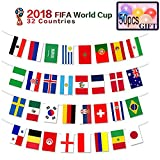 2018 FIFA World Cup Flags,Russia Soccer Football Flag,Extra Large Size 32 Country Flag Bunting 8''x 12'' for Bar Party,Fans,Sport Clubs Decorations/Give 50pcs Balloons