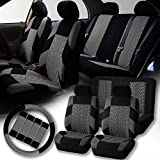 FH-FB071115 Complete Set Travel Master Seat Covers Airbag Ready & Rear Split with Steering Wheel Cover, Seat Belt Pads Gray- Fit Most Car, Truck, Suv, or Van