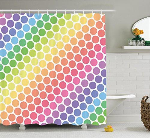 Curtain Ambesonne Rainbow Bathroom Accessories