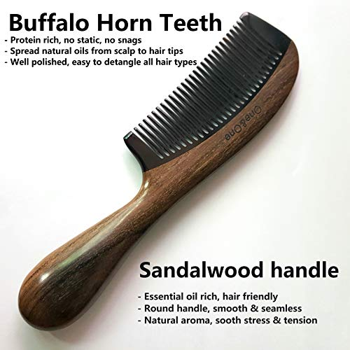 One&One Fine Tooth Horn wood Combs for Men, Women, Girls. (Black Round Fine)