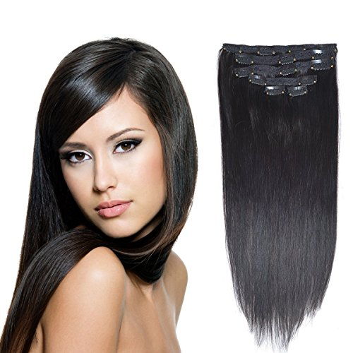 "20"" Real Clip in Hair Extensions Remy Human Hair Off Blac..."