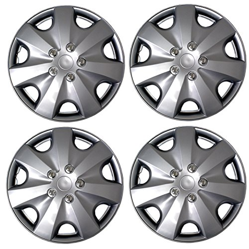 TuningPros WSC3-5051S16 4pcs Set Snap-On Type (Pop-On) 16-Inches Metallic Silver Hubcaps Wheel Cover -