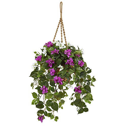 Bougainvillea Hanging - Nearly Natural 8405 30-in. Mixed Bougainvillea Artificial Hanging Basket Silk Plants Purple