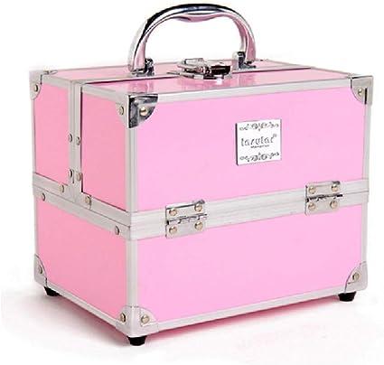 Estuche de maquillaje Caja de belleza de almacenamiento en espacio extra grande Maquillaje de uñas Estuche de tocador cosmético, rosado: Amazon.es: Belleza