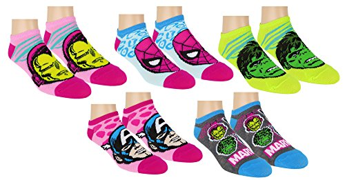 Marvel Avengers Womens Ankle-No Show Socks 5 Pack