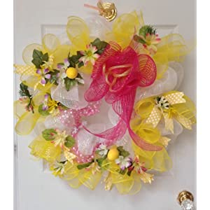 New! Large! Full! Gorgeous Handmade Deco Mesh Summer Wreath 4
