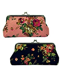 Oyachic 2 Packs Coin Purse Cell Phone Pouch Rose Pattern Clasp Closure Wallet Gift (Black and Pink)