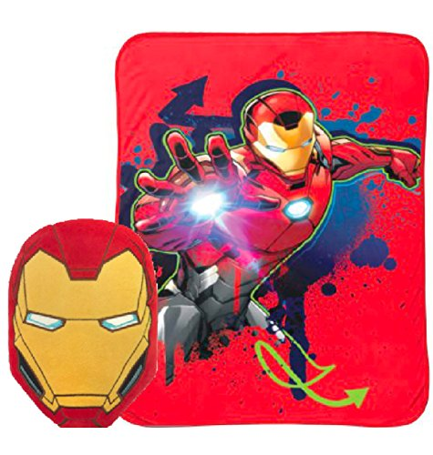 Marvels Avengers Iron Man Nogginz Pillow and Blanket Kids Bedding Set ()
