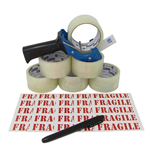 Tag-A-Room Heavy Duty Shipping Packaging Tape (6 Rolls, 1.88-Inch x 54.6 Yards), Tape Gun Dispenser, Fragile Shipping Label Value Bundle from Tag-A-Room