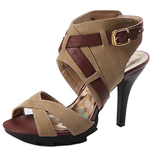 COOLCEPT Mujer Moda Ankle Wrap Sandalias Punta Abierta Tacon de Aguja Slingback Zapatos Marron