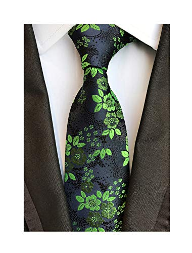 Men's Green Black 100% Silk Ties Cravat Woven Jacquard Casual Spring Neckties ()