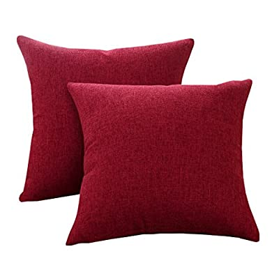 Sunday Praise Cotton-Linen Decorative Throw Pillow Covers,Classical Square Solid Color Pillow Cases,18x18 inches Cushion Covers for Sofa Couch Bed&Car,Pack of 2