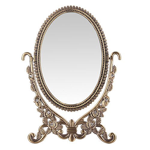 Classic Vanity Antique - LEJU Makeup Vanity Mirror Decorative Mirrors Framed Mirror Vintage Rose Vanity Set Tabletop Two-sided Rotatable Ellipse 6-Inch (Ellipse)