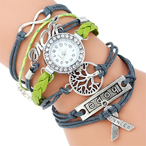 Charm Paracord Bracelet Watch Women Life Tree Vintage Fashion Wristwatch Quartz