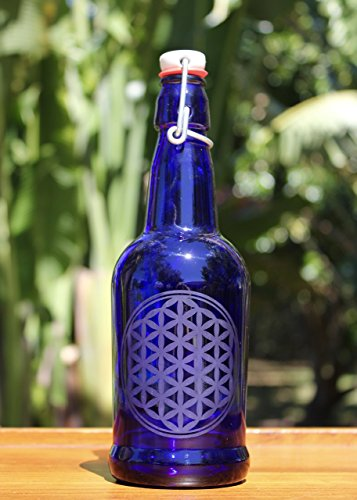16oz. Flower of Life Etched Cobalt Blue Glass Bottle With Swing-Top Lid