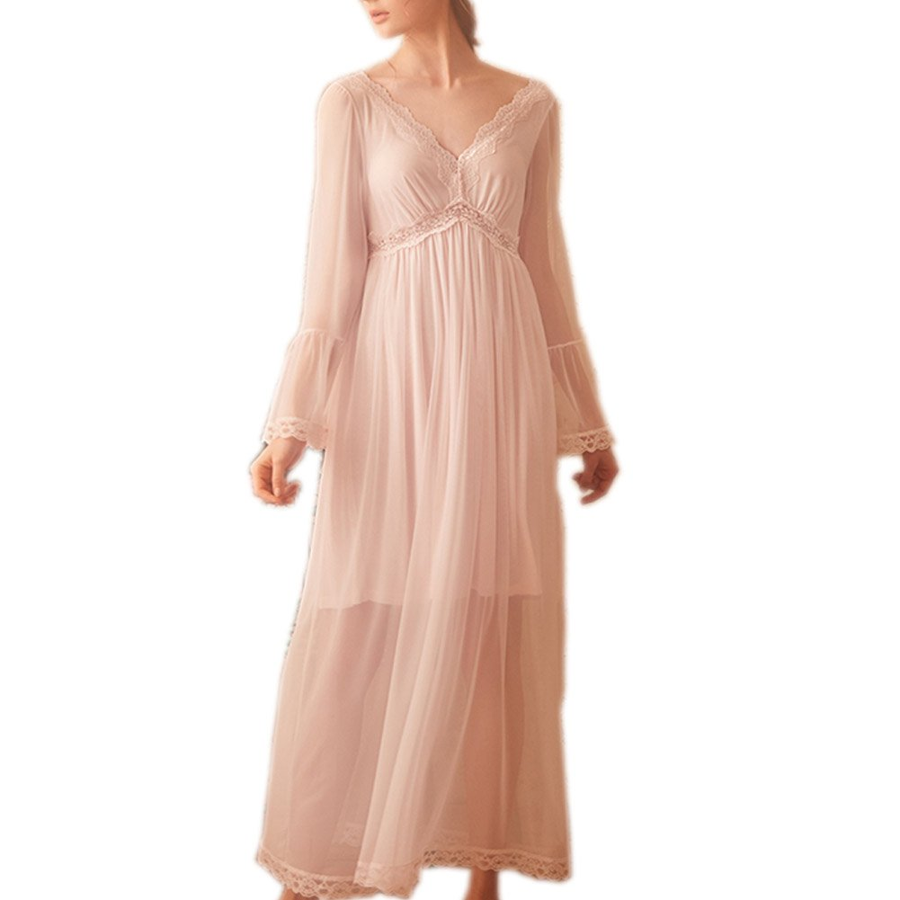 Singingqueen Women's Long Sleeve Vintage Nightgown Victorian Nightdress Sleepwear Loungewear ChemisesPajamas (Light Pink, Medium)