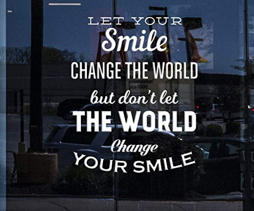 covolca Decals Wall Stickers Sayings Lettering Room Home Wall Decor Mural Art Let Your Smile Change The World Inspired Quote Positive House -