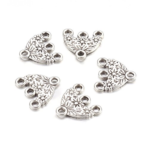 Pandahall 20pcs Tibetan Antique Silver Hat Chandelier Component Charm Links for Necklace Dangle Earring Making 15x16x2mm
