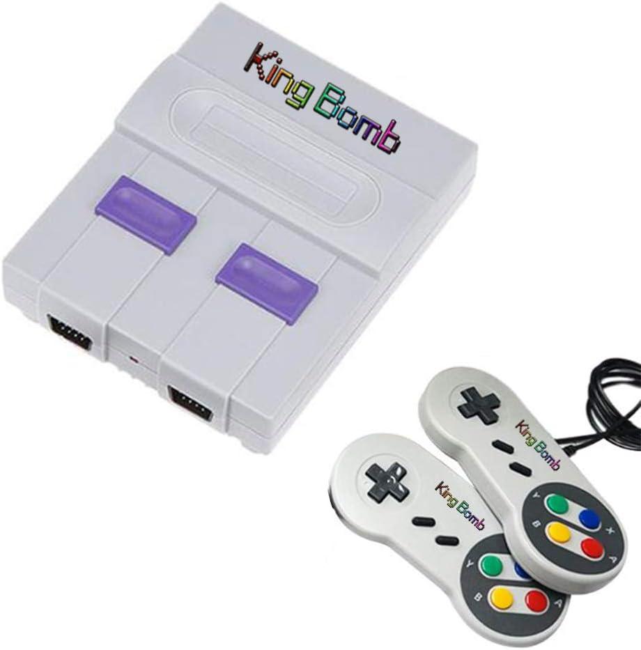 King Bomb Built-In 821 Game Super Mini Home TV Consola de Juegos HD Mango Doble Soporte de conexión USB Interfaz de Salida HDMI SNES 8 bit Retro Consola de Juegos roja y