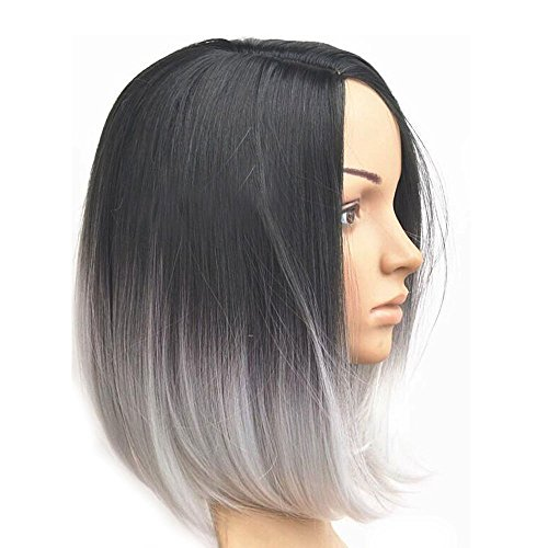 TINYUNICORN Short Black Grey Straight Wigs for women Heat Resistant Hair Wig Material (Madeline Costume For Adults)
