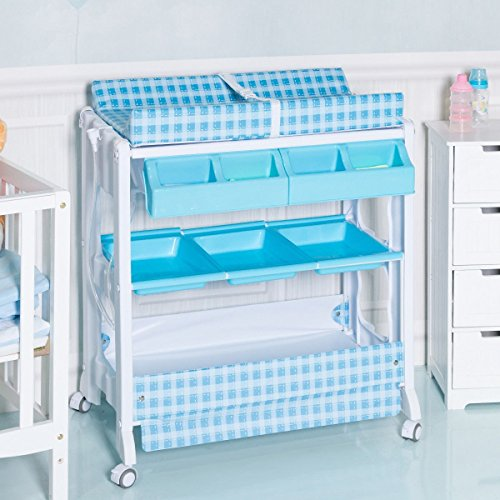 Infant Baby Bath Changing Table Diaper Station w/ Tube Blue by Apontus