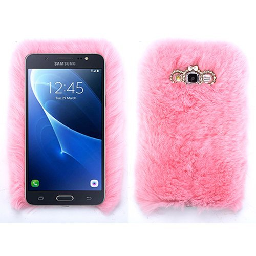 (for Samsung Galaxy J7 2017 Light Baby Pink Fur Furry Fluffy Case Soft Cover with Free)