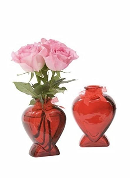 Amazon Valentines Day Heart Shaped Red Glass Bud Vase 5 Home