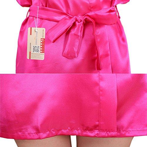 SiDiOU Group Traje de noche para las mujeres Vestido de satén Vestido de imitación de seda Kimono de satén ropa interior de encaje Ropa de dormir de seda de hielo Estilo 2-Rose Rojo