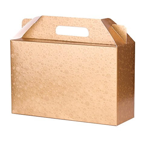Decorative Gold Craft Cardboard Gift Boxes Set of 6 with Lids and Handle 11x7x4 in for different Occasions like Holiday Wedding Birthday Christmas bridesmaid party Free: TOP TIPS around Gift Giving -