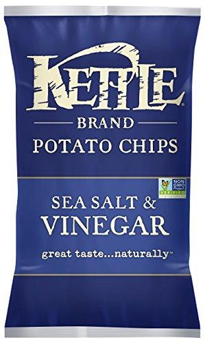 Kettle Chips Salt Vinegar Potato Chips 5 Oz (Pack of 15) - Gluten Free
