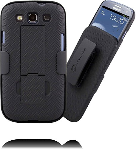 ion Secure Shell & Belt Clip Holster Combo with Kickstand (Jet Black) 180° Degree Rotating Locking Swivel + Shockproof Protection (Not for Samsung Galaxy S3 Mini) ()