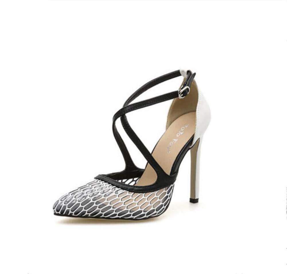 Mamrar Frauen Pumpen Spitzen Zehen Net Garn Sandalen 11Cm Stiletto D ' Orsay X-Riemen Kleider Schuhe Roma-Schuhe EU-Größe 35-40