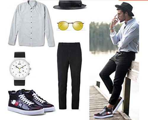 Happyshop (tm) Sneaker Moda Uomo Scarpa Sportiva Stringata In Pelle Scarpe Casual Stivaletti Rosso Vino