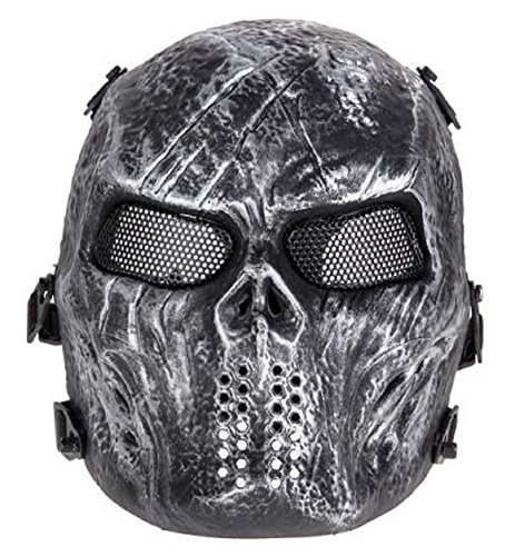 Design Bender Costume (Homespun Airsoft Paintball Full Face Protection Black Design Skull Mask 270 X 180 X 150 mm Army Games Outdoor Metal Mesh Eye Shield Costume CS Cosplay)