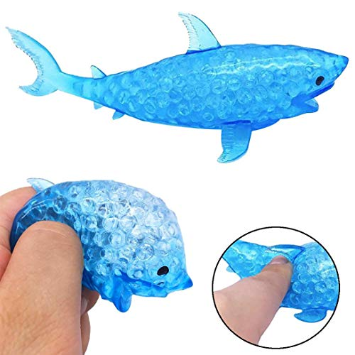 Pausseo Spongy Squeeze Shark Bead Stress Ball Toy - Squeezable Toys - Ideal for Stress Reliever & Anxiety Relief,Special Needs,Autism,Disorders & More -