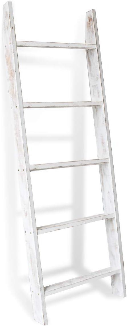Honest Blanket Ladder Wooden Decorative, Rustic Blanket Ladder,Farmhouse Blanket Holder Rack, Wall Leaning Ladders, Ladder Shelf Stand,White