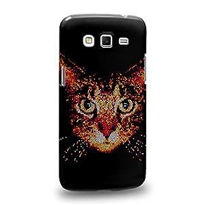 Case88 Premium Designs Art Collections Hand Drawing Animal Face Design Cat Face Red Carcasa/Funda dura para el Samsung Galaxy Grand 2