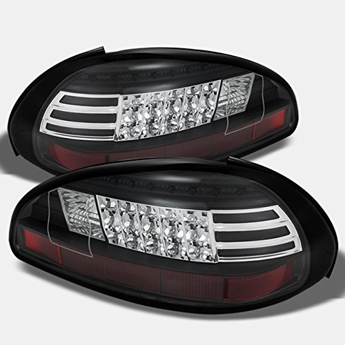 For 97-03 Pontiac Grand Prix Black Bezel Rear LED Tail Lights Brake Lamps Replacement Pair Left + Right ()