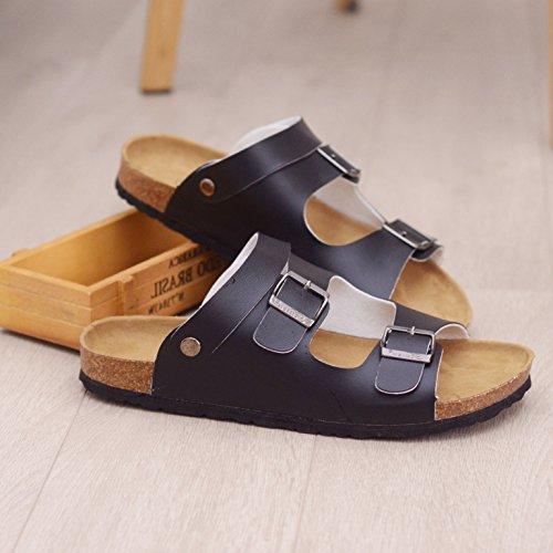 Xing Lin Sandalias De Hombre Las Parejas De Hombres Zapatillas De Corcho Sandalias De Moda De Verano Chanclas Sandalias Antideslizantes Y Pantuflas Chanclas Exterior 44 1 Negro Negro Grande