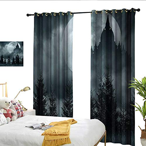 WinfreyDecor Halloween Light Luxury high-end Curtains Magic Castle Silhouette Over Full Moon Night Fantasy Landscape Scary Forest Darkening and Thermal Insulating W120 x L96]()