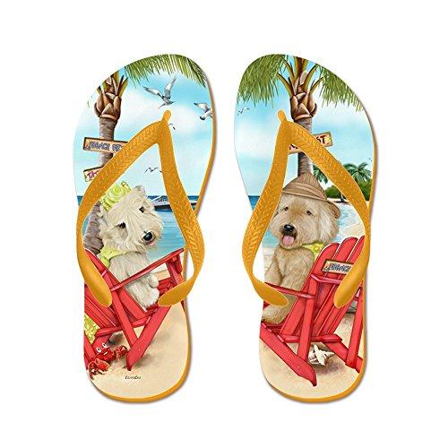 Cafepress Wheaten Terrier - Flip Flops, Roliga Rem Sandaler, Strand Sandaler Apelsin