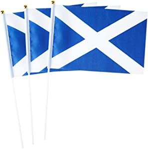 Scotland Flag Scottish Hand Held Small Mini Stick Flags Decorations International Country World Flags For Party Olympics Festival Parades Parties Decor (20 pack) (Scotland)