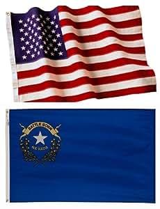 Bandera de Estados Unidos bordada de 3 x 5 cm y bandera de Nevada de 2 capas de poliéster resistente al viento.
