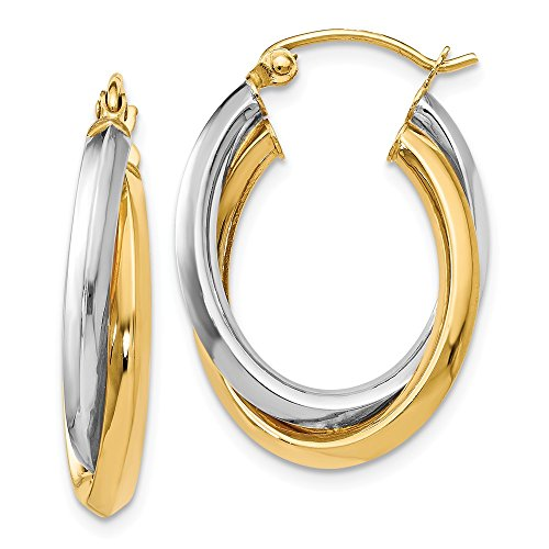 14k Two Tone Yellow Gold Oval Hinged Hoop Earrings Ear Hoops Set Fine Jewelry Gifts For Women For Her